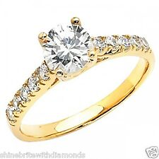 1.75 Ct Round Cut Engagement Wedding Promise Ring Trellis Solid 14K Yellow Gold