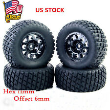 4X Tires Tyre Wheel Rim Set TRAXXAS HPI HSP Short Course Truck 12mm Hex RC 1:10