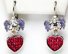 KIRKS FOLLY MILAGROS MEXICAN FOLK ART- ANGEL HEART LEVERBACK EARRINGS SILVERTONE