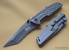 """MTECH SPRING ASSISTED KNIFE STONEWASH 4.5"""" CLOSED WITH POCKET CLIP TANTO BLADE"""