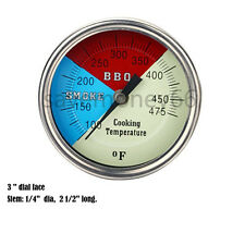 """3"""" BBQ GRILL SMOKER PIT THERMOMETER SS THERMOSTAT PIT TEMP GAUGE 1/2"""" NPT STM"""