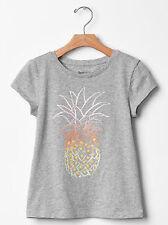 NEW GAP Kids Girls XS 4T-5T Pineapple Gray Cotton Short Sleeve T-Shirt
