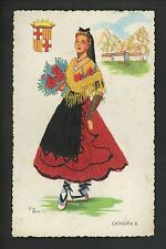 Embroidered clothing postcard Artist Elsi Gumier, Spain, Cataluna woman #8