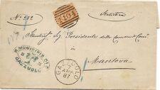 P8359   Mantova, Gazzuolo, annullo numerale a sbarre, 1887