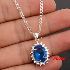 Hot  LF 925 Silver Plating Round Cubic Zircon Charms Necklace Pendant