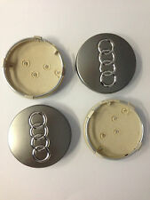 Set of 4 AUDI Face 68mm Clip 57mm ALLOY WHEELS CENTER CAPS SET , Grey