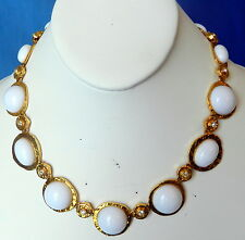 NICE KJL KENNETH J LANE GOLD TONE & WHITE LUCITE CABOCHON & RHINESTONES NO WEAR