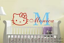 Custom Personalised Name HELLO KITTY Wall Stickers Kids Nursery Vinyl Decor DIY