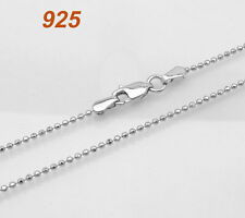 Platinum Clad Silver Bead Ball Chain Necklace 16 18 20""