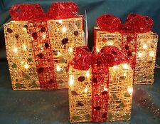 Christmas Indoor decoration -Set of 3 Lit LED Xmas  Red bow & Gold Parcel Boxes