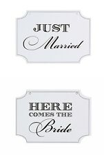 "DOUBLE SIDED SIGN ""Here Comes The Bride""&""Just Married"" 4 WEDDING Victoria Lynn"