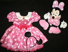 Disney Store Deluxe Pink Minnie Mouse Costume Sz 5 5T Dress Ears Plush Doll Lot