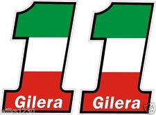 2x Gilera Motorcycle Italian bike flag decals car van bus truck Sticker Scooter