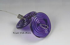 ROA Lampwork 2 Gold Purple 3 x 25 mm USA Handmade Disc Art Glass Beads SRA