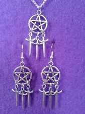 Pentagram and Athame Earrings and Necklace Set * Dream Catcher Pagan Sword Wicca