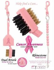 Pink Ribbon Golf Brush w/ Dual Head & Golf Score Bead Counter w/ Rhinestones-