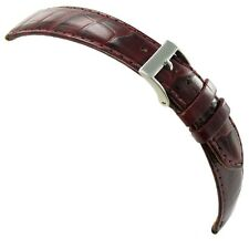 20mm Milano Genuine Leather Alligator Grain Bordeaux Tone Stitched Watch Band