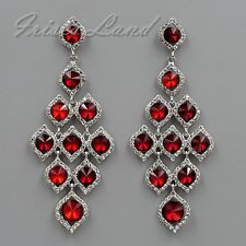 Rhodium Plated Red Crystal Rhinestone Chandelier Drop Dangle Earrings 08542 New
