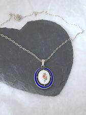 Charles Horner sterling silver guilloche  enamel rose pendant