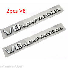 2×Chrome Side Fender Sticker Emblem Badge OEM V8Kompressor For All Mercedes-Benz