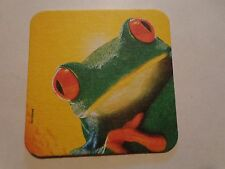 Beer Breweriana Coaster ~*~ KRONENBOURG Biere de Mars ~ FRANCE ~  ~ Red Eye FROG