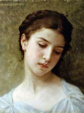 WILLIAM ADOLPHE BOUGUEREAU HEAD YOUNG GIRL 1898 OLD ART PAINTING PRINT 3119OMA