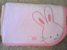 Carters Pink Fleece Embroidered Bunny Rabbit Tiny Hugs Patch Baby Blanket Girl