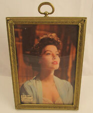 "Metalcraft Hanging Brass Picture Frame 5X7"" W/ Image Of Ava Gardner W/ Stand"