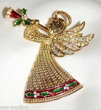 Golden w. AB Crystal Christmas Shiny Angel Of Peace W Trumpet Brooch