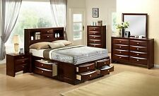 4 PIECE BEDROOM FURNITURE SET Queen Merlot Platform Bed HEADBOARD