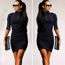 Womens Turtleneck Zip Back Pullover T Shirts Sweater Bodycon Jumper Midi Dresses
