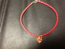 Vera Bradley CHARM BRAIDED BRACLET faux red leather with charm in Bittersweet