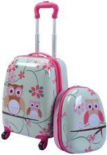 2Pc 12 16 In Kids Luggage Set Suitcase Backpack School Travel Trolley ABS - Owls