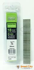 """Grex 18 Gauge 3/4"""" inch Long Stainless Steel Brad Nails - GBS18-20 Qty: 1000"""
