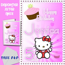 HELLO KITTY - PERSONALISED Birthday Card Daughter Sister Niece
