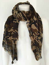 POLO RALPH LAUREN CAMOUFLAGE PRINT LINEN BLEND CRINKLE SCARF