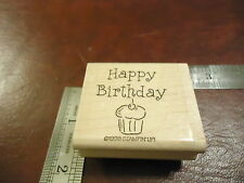 HAPPY BIRTHDAY WITH CUPCAKE RUBBER STAMP QUOTE SAYINGS FUN PARTY BIRTHDAY CARD