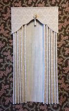 Cream Damask Dollhouse Curtains with Cream Satiny Semi - Sheers  - 1:12 scale