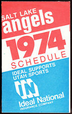 1974 SALT LAKE ANGELS IDEAL INSURANCE BASEBALL POCKET SCHEDULE EX+NM FREE SHIP