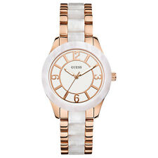 NEW GUESS WATCH for Women * White Marble-Like Case Face * Rose Gold Tone U0074L2