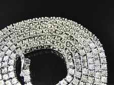 1 Row Men's Chain with natural diamonds in Sterling Silver White Gold Finish 34""