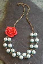 Vintage Inspired Red Flower Pale Blue Pearl Glass Beads Double Strand Necklace