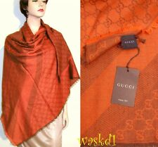 "GUCCI wool/silk Orange-Brown Monogram Giant 55""-sq scarf PASHMINA shawl NWT Auth"