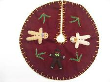 "11"" Hand made Flannel Embroider Applique GINGERBREAD MAN CHRISTMAS TREE SKIRT"