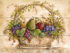 Art Mural Ceramic Basket Fruits Pear Grape Backsplash Tile #117