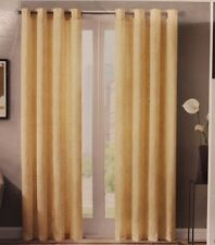 "Madison Park Payton Yellow Diamond Motif Window Panel Curtains 50"" x 84"" TWO New"