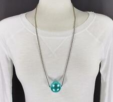 """Turquoise big huge faux pearl necklace bead beaded 29"""" long statement sweater"""