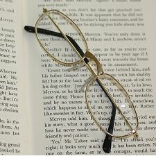 Reading Glasses Simple +4.00 Lens Metal Gold Frame Lightweight No Fuss