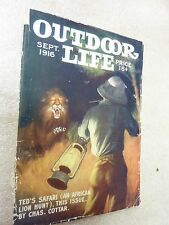 OUTDOOR LIFE ~ Sept 1916  ~~  Cover by ~ Howard Hastings ~~ Women on MotorCycles