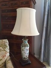 Vintage Porcelain  Asian Table Lamp with Floral Butterflies JUST REDUCED